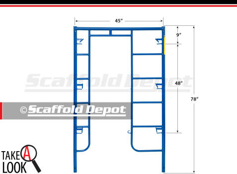 A 78 inch high by 45 inch wide Scaffold Depot series arch frame